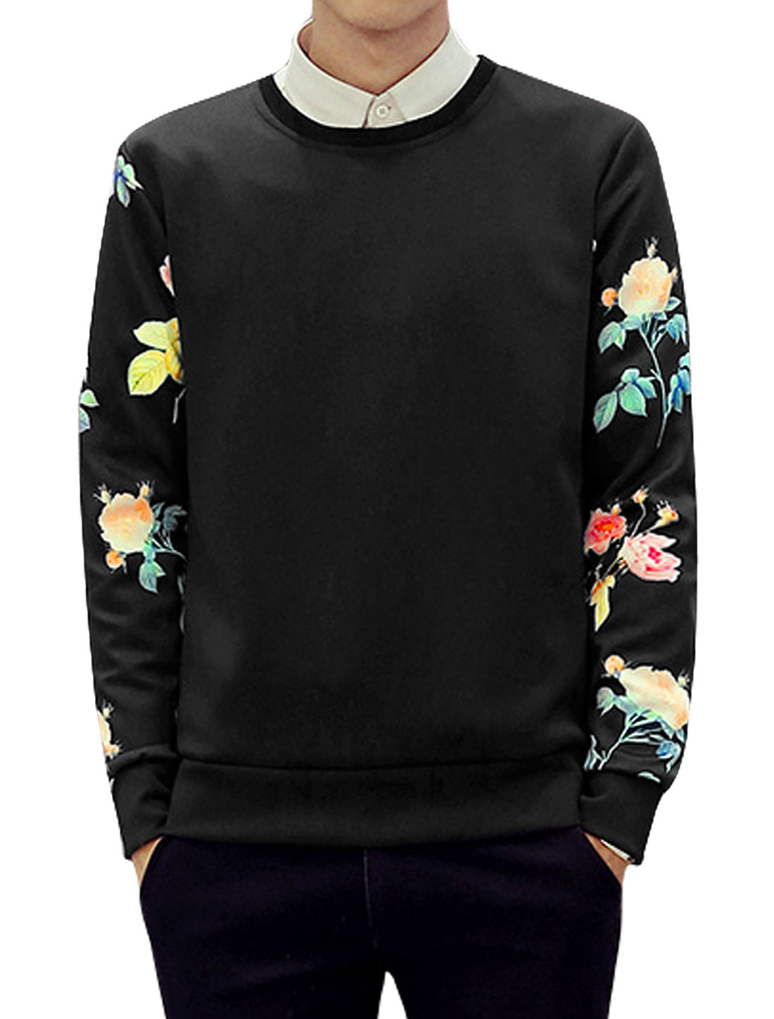 Men Slim Fit Crew Neck Long Sleeves Flower Sweatshirt Black M
