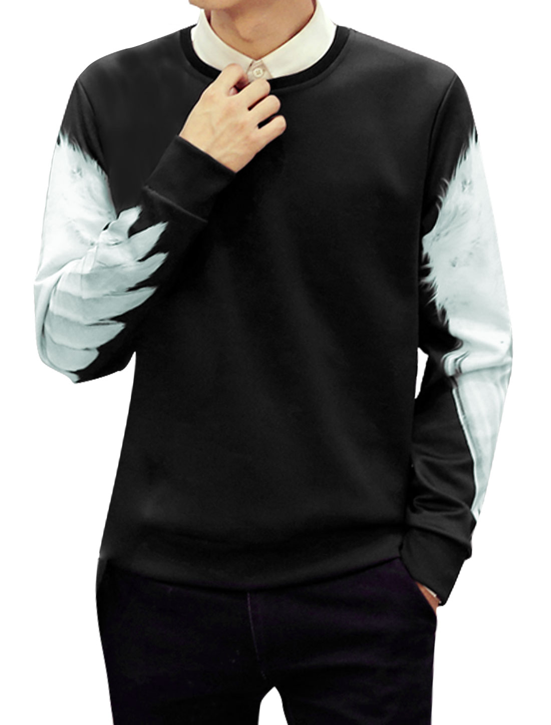 Men Slim Fit Crew Neck Long Sleeves Wings Sweatshirt Black M
