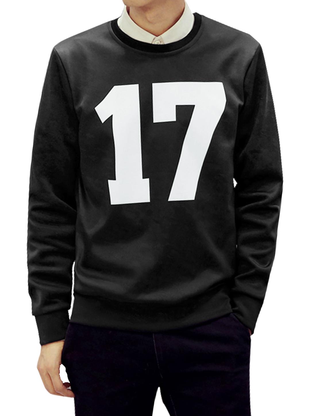 Men Slim Fit Crew Neck Long Sleeves Letters Sweatshirt Black M
