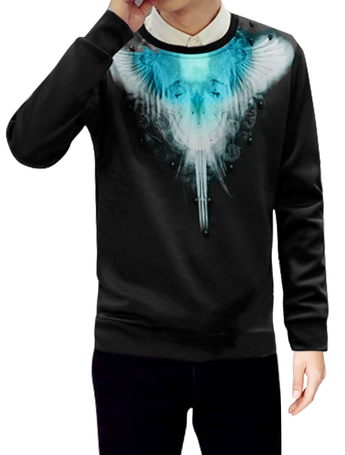 Men Crew Neck Skull Decor Novelty Wings Sweatshirt Black M