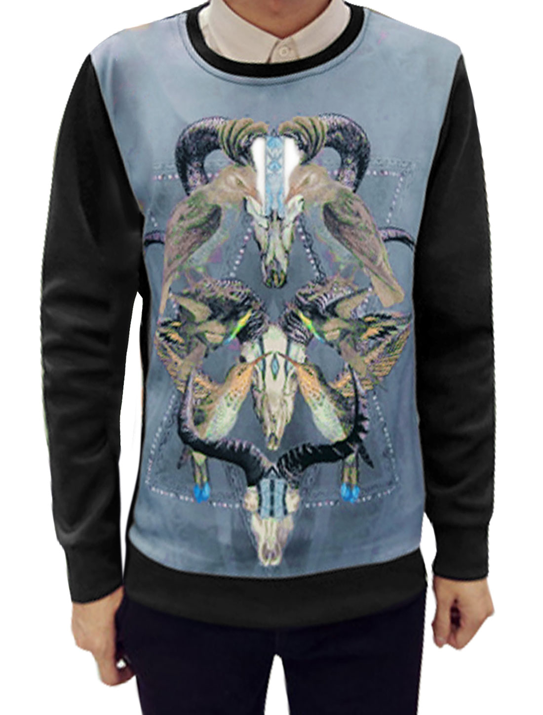 Men Crew Neck Goat Heads Pattern Birds Sweatshirt Black M