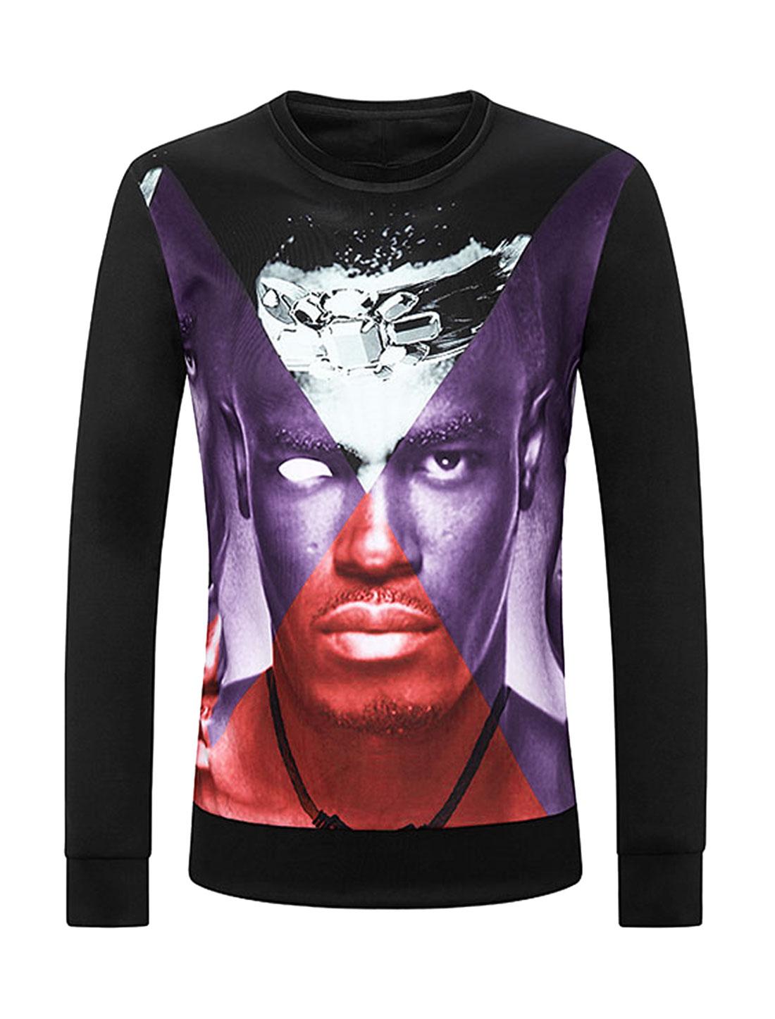 Men Crew Neck Diamond Human Print Slim Fit Sweatshirt Black M