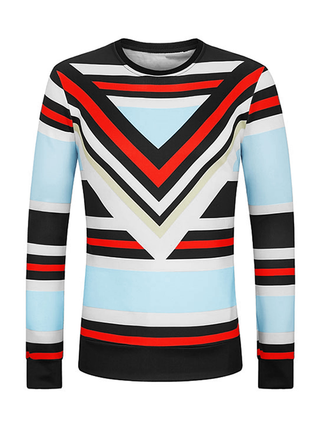 Men Crew Neck Stripes Geometric Slim Fit Sweatshirt Blue M