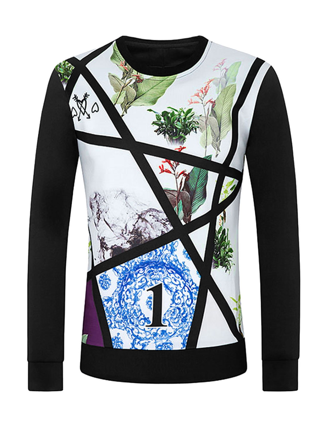 Men Crew Neck Floral Number Slim Fit Sweatshirt White M