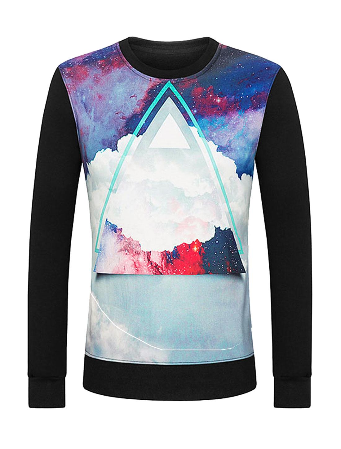 Men Galaxy Geometric Soft Lined Slim Fit Sweatshirt Black M
