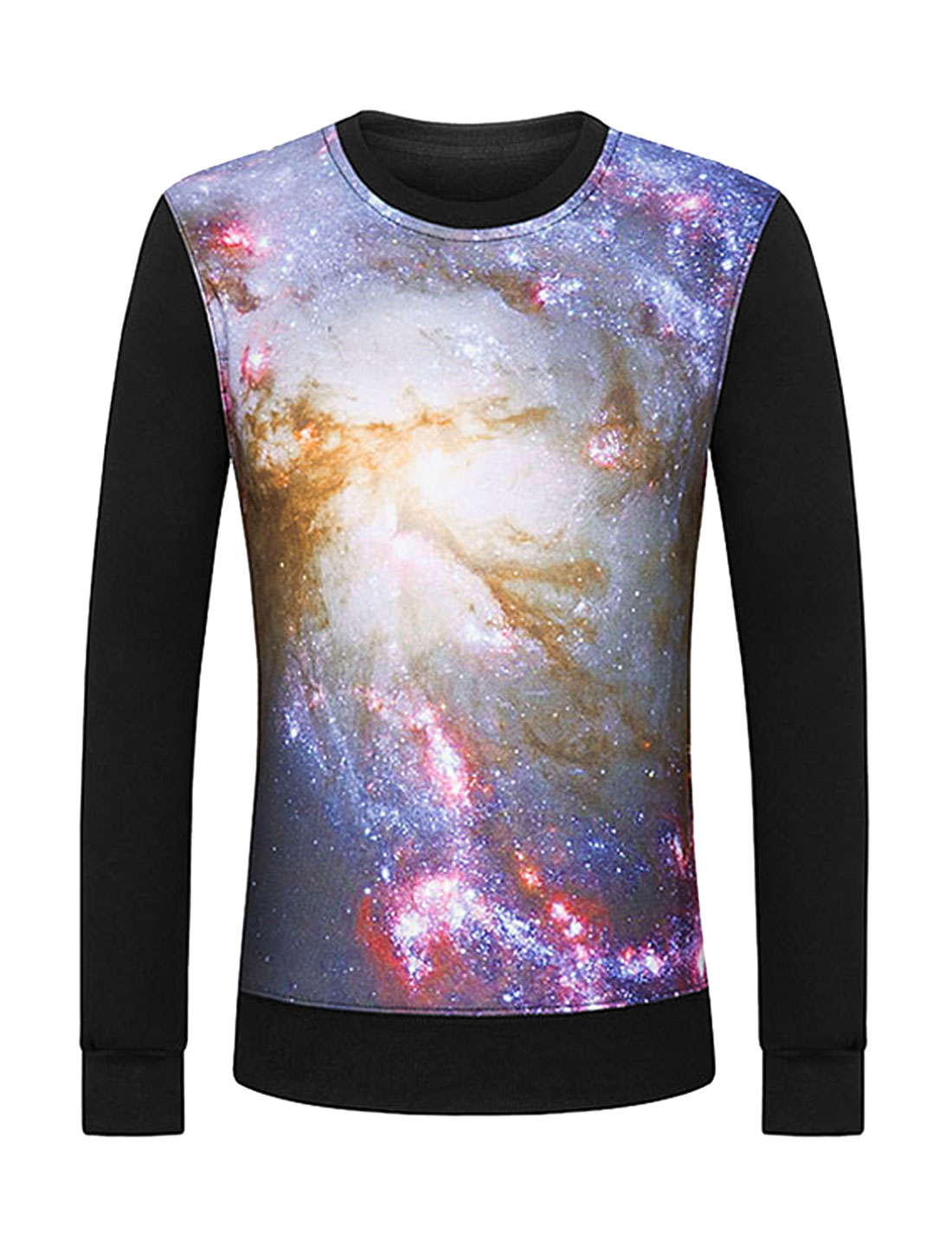 Men Crew Neck Galaxy Soft Lined Slim Fit Sweatshirt Black M