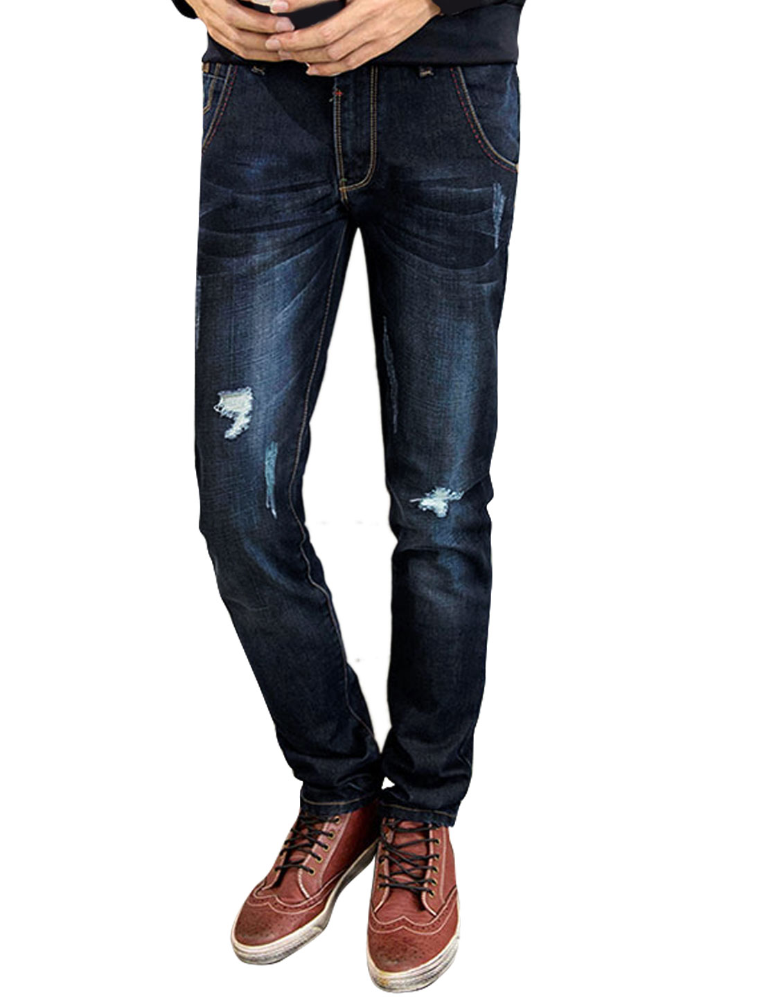 Man Slim Fit Zip Fly Straight Destroyed Denim Pants Blue W32