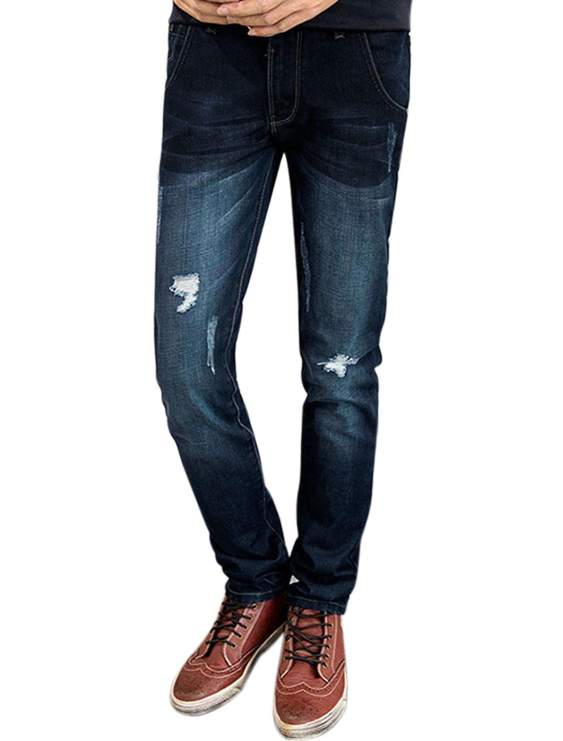 Man Slim Fit Zip Fly Straight Destroyed Denim Pants Blue W34