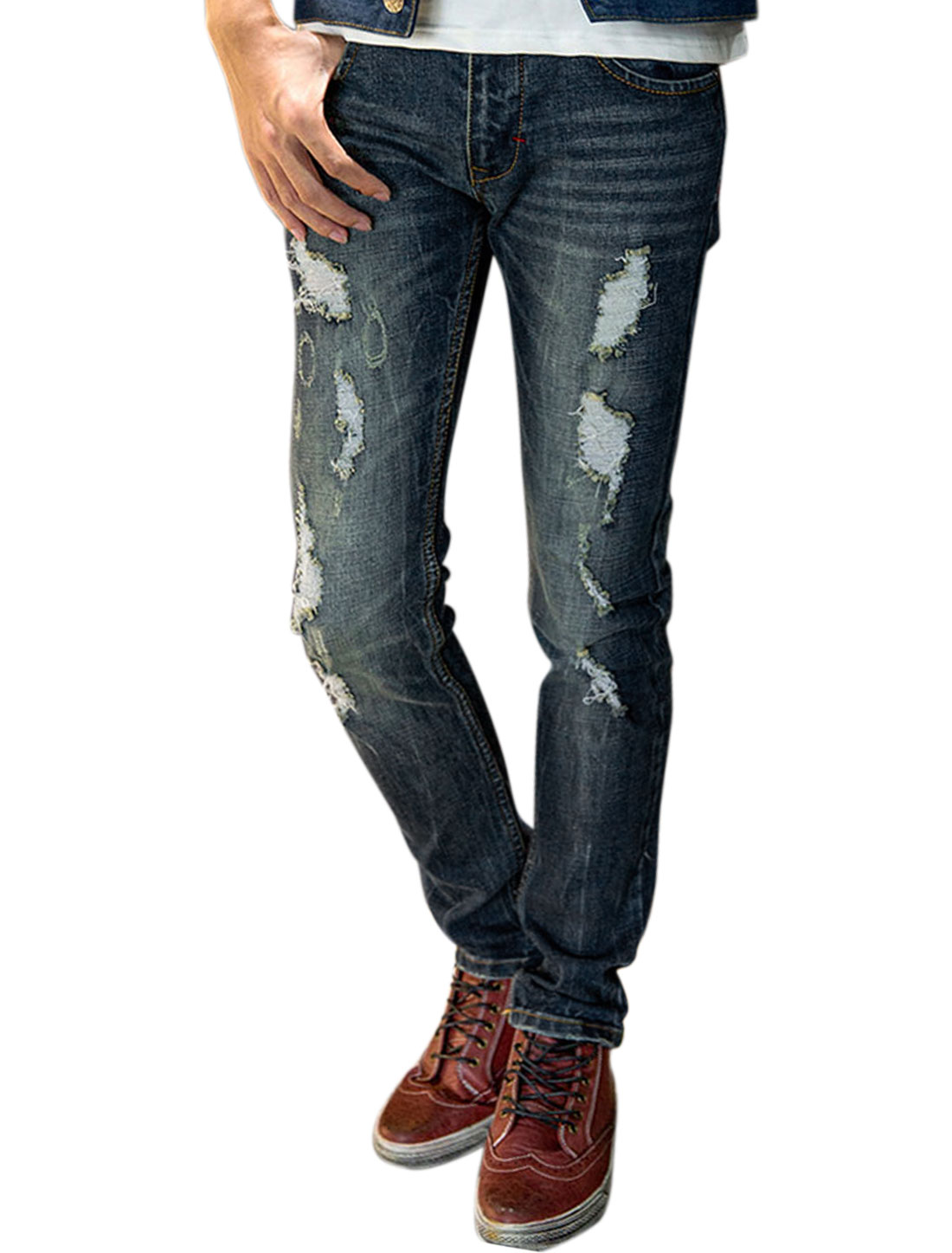 Man Slant Pockets Slim Fit Destroyed Denim Pants Blue W34