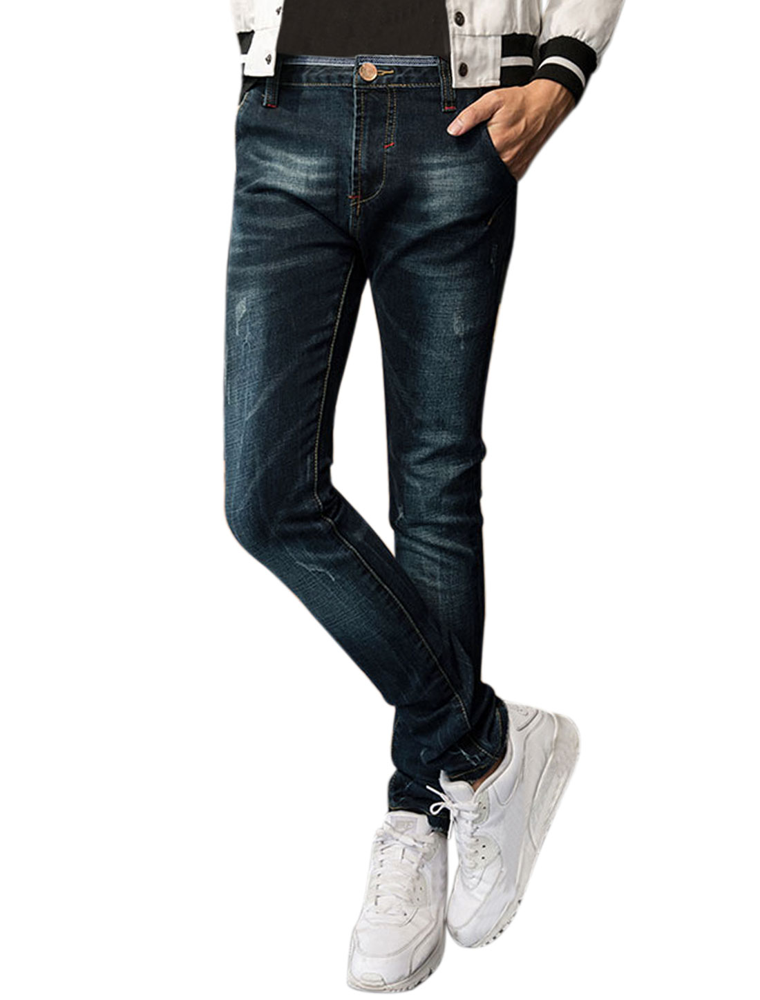 Men Slant Pockets Zip Fly Distressed Slim Fit Denim Trousers Blue W32