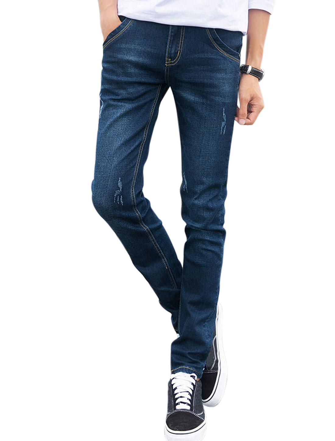 Men Slant Pockets Disressed Straight Leg Denim Pants Blue W32