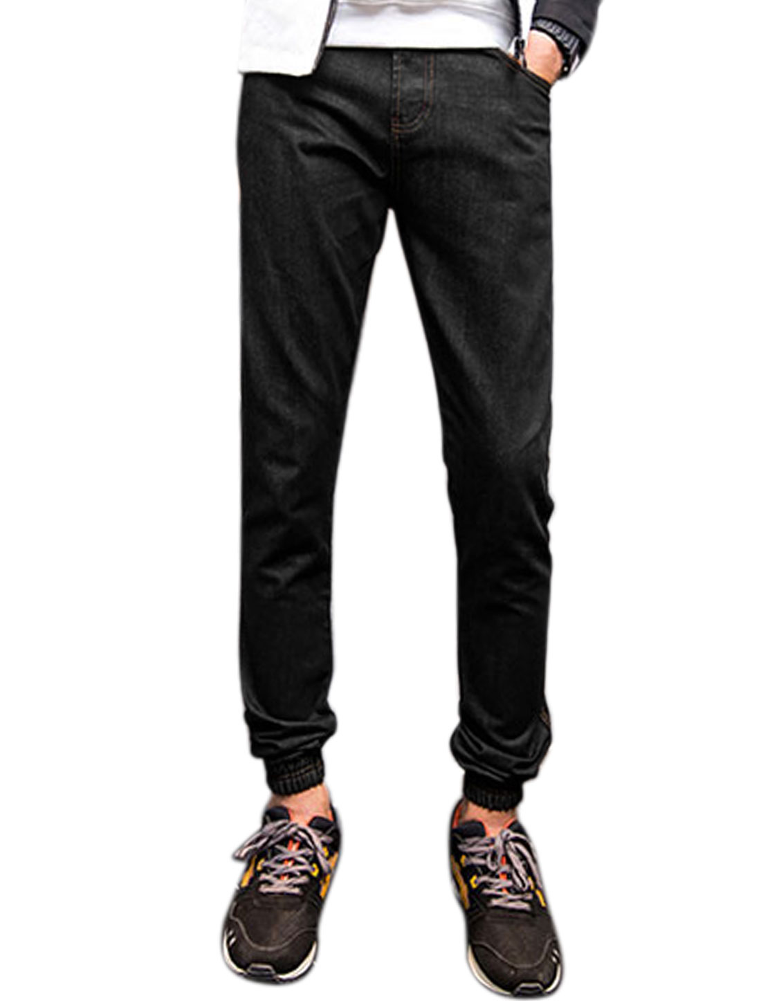 Man Slim Fit Tapered Elastic Cuffs Denim Trousers Black W32