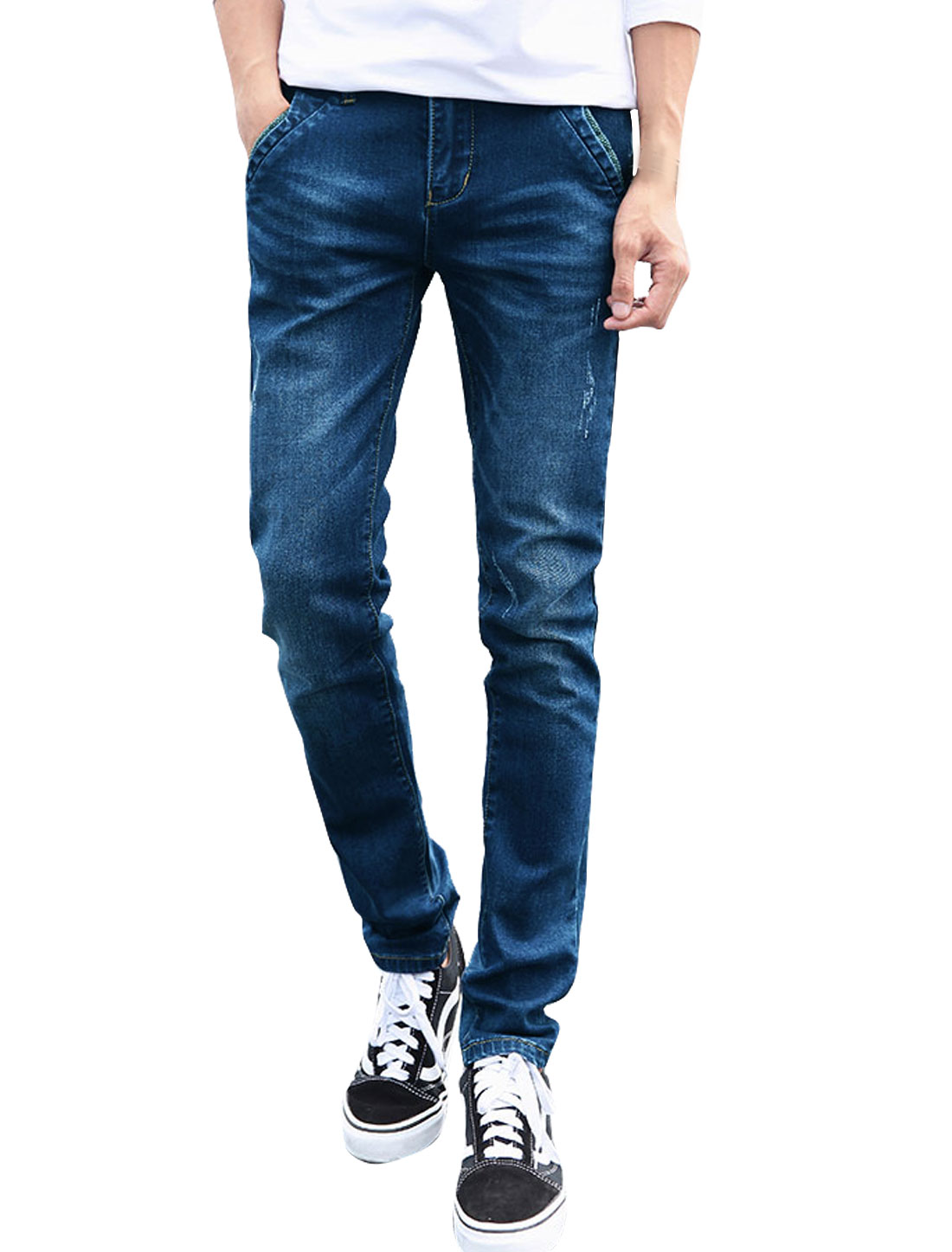 Man Side Pockets Destroyed Detail Slim Fit Jean Pants Blue W34