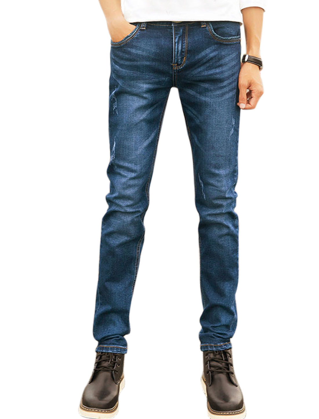 Men Slants Pockets Distressed Slim Fit Denim Pants Blue W34
