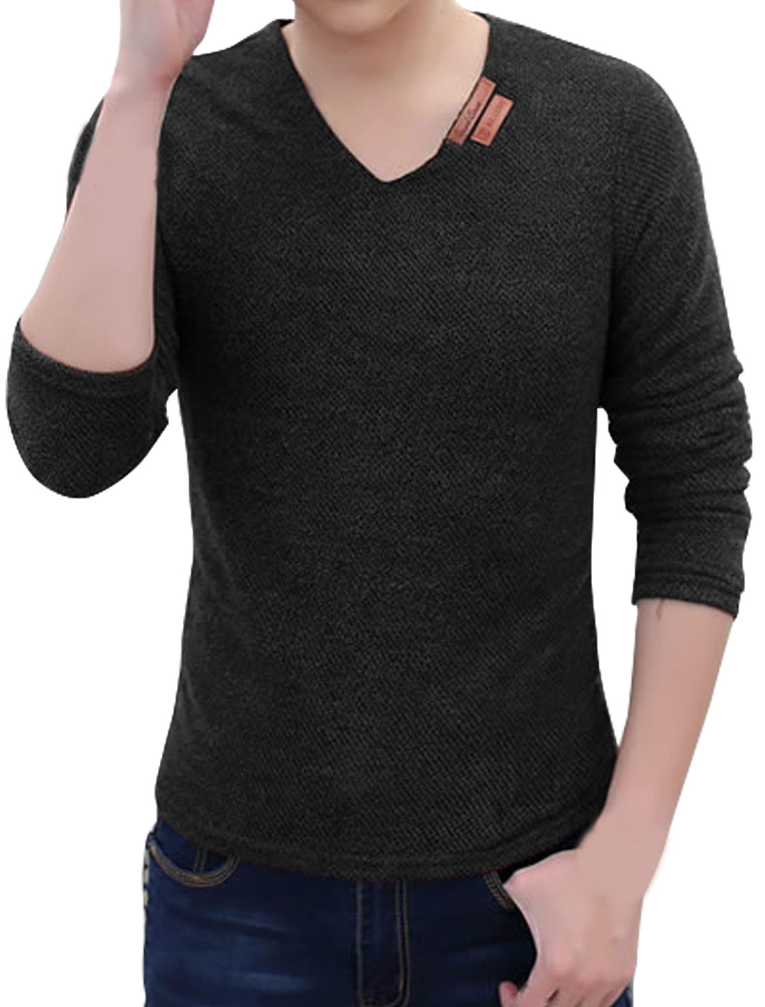 Men V Neck Long Sleeves Semi Sheer Slim Fit Mesh Tee Shirt Black M