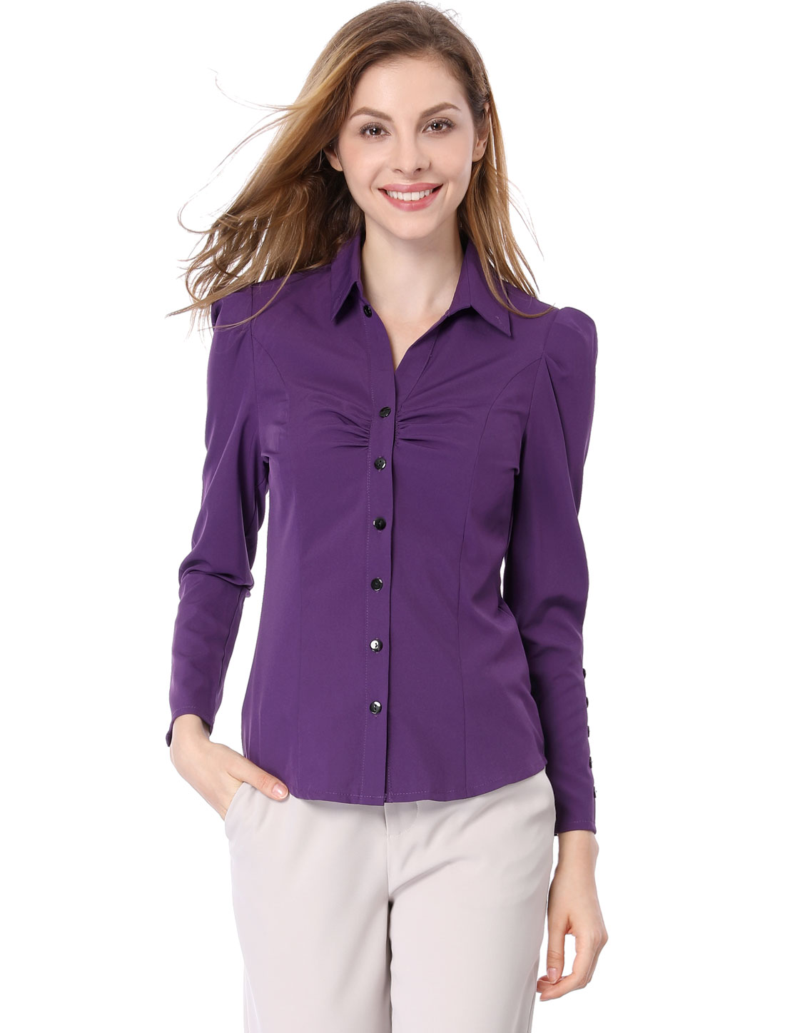 Allegra K Women Point Collar Long Sleeve Button Decor Cuffs Shirt Purple XL