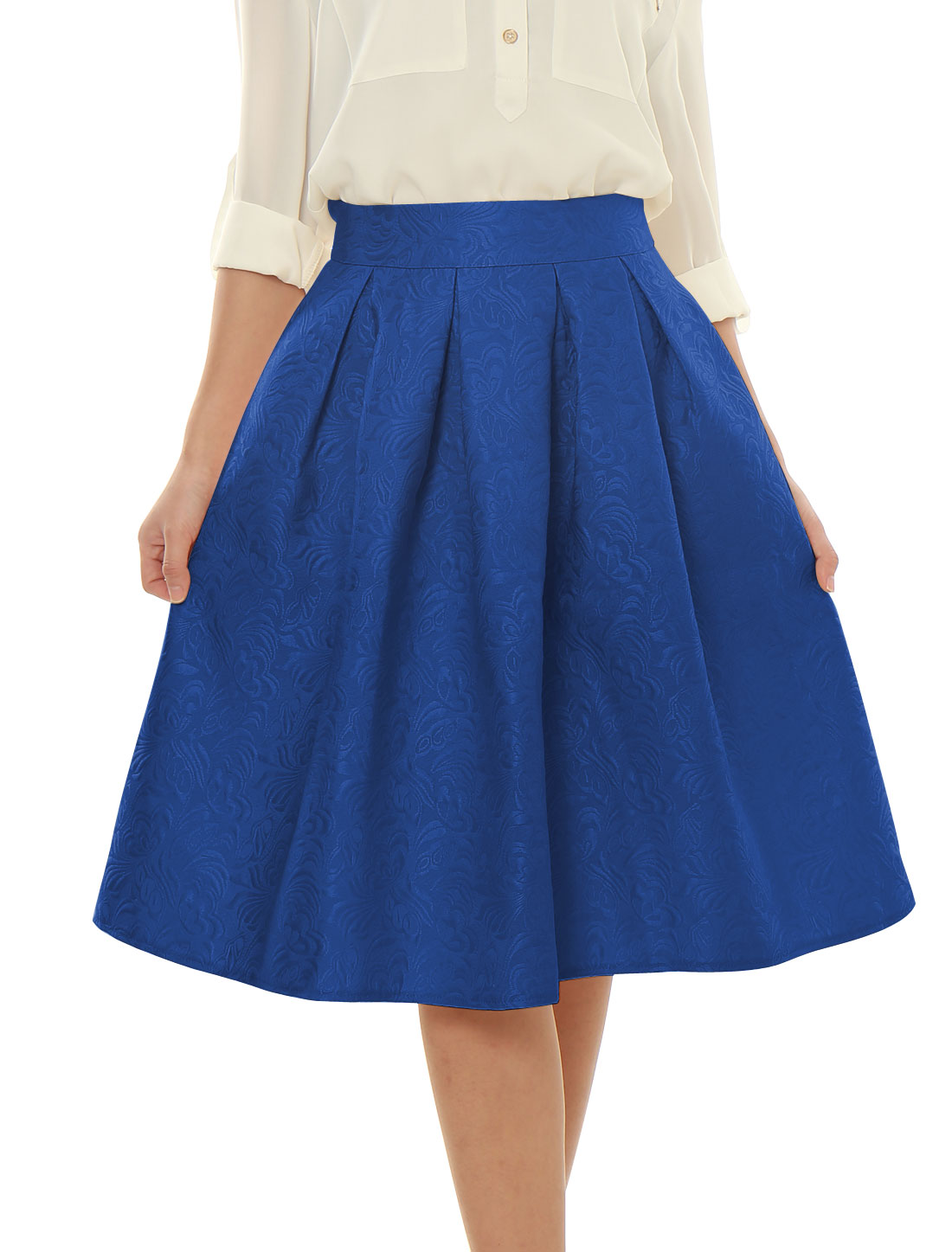Woman High Waist Floral Jacquard Pleated Full Skirt Blue XS