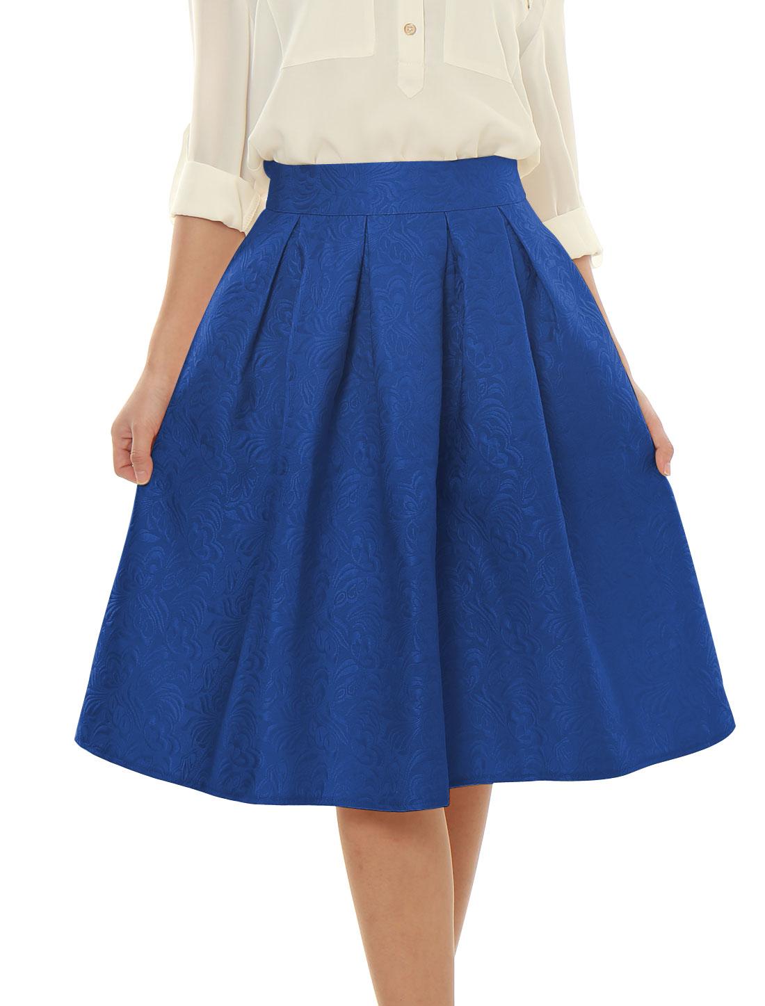 Woman High Waist Floral Jacquard Pleated Full Skirt Blue XL