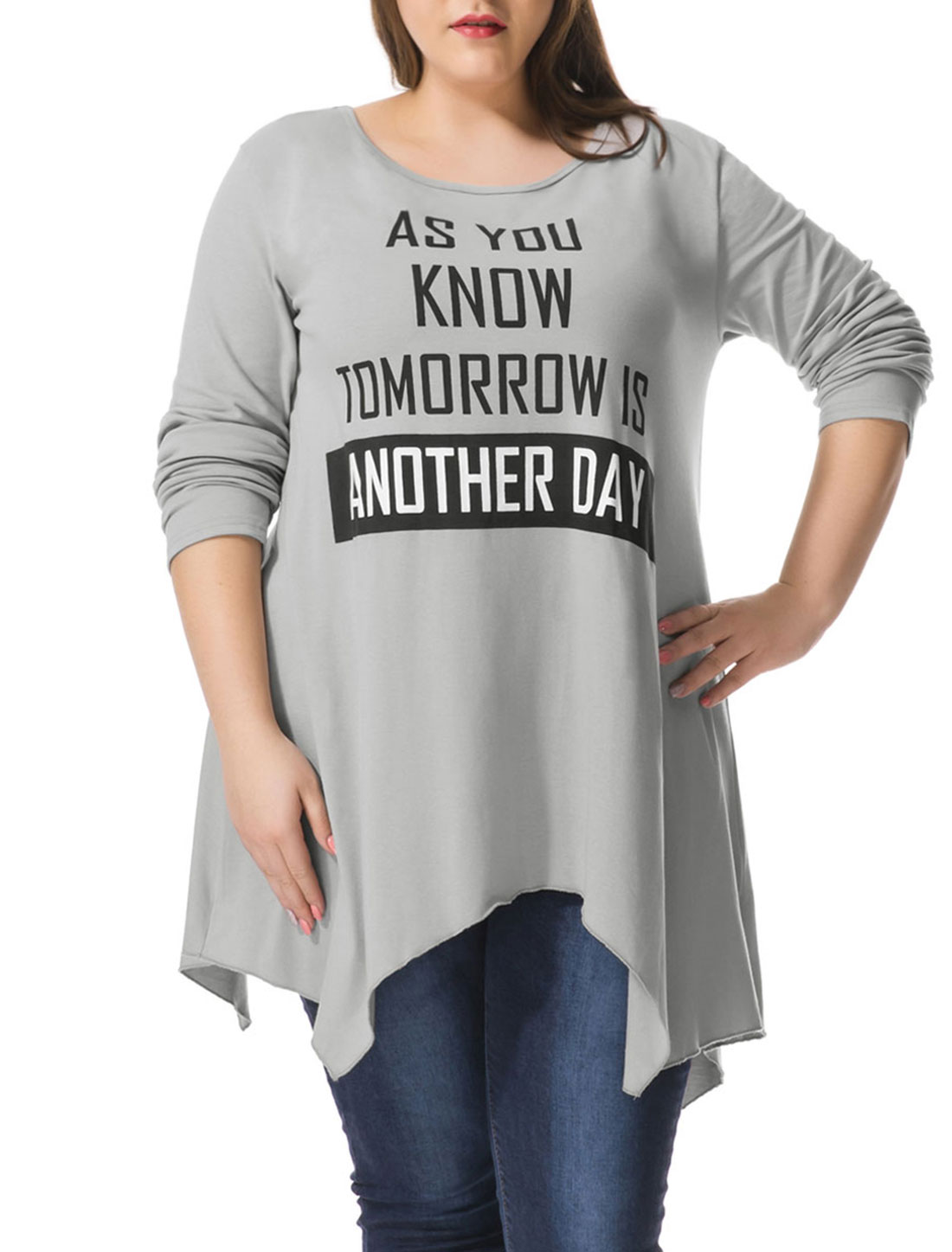 Women Plus Size Letters Print Asymmetric Hem Tunic Top Gray 1X