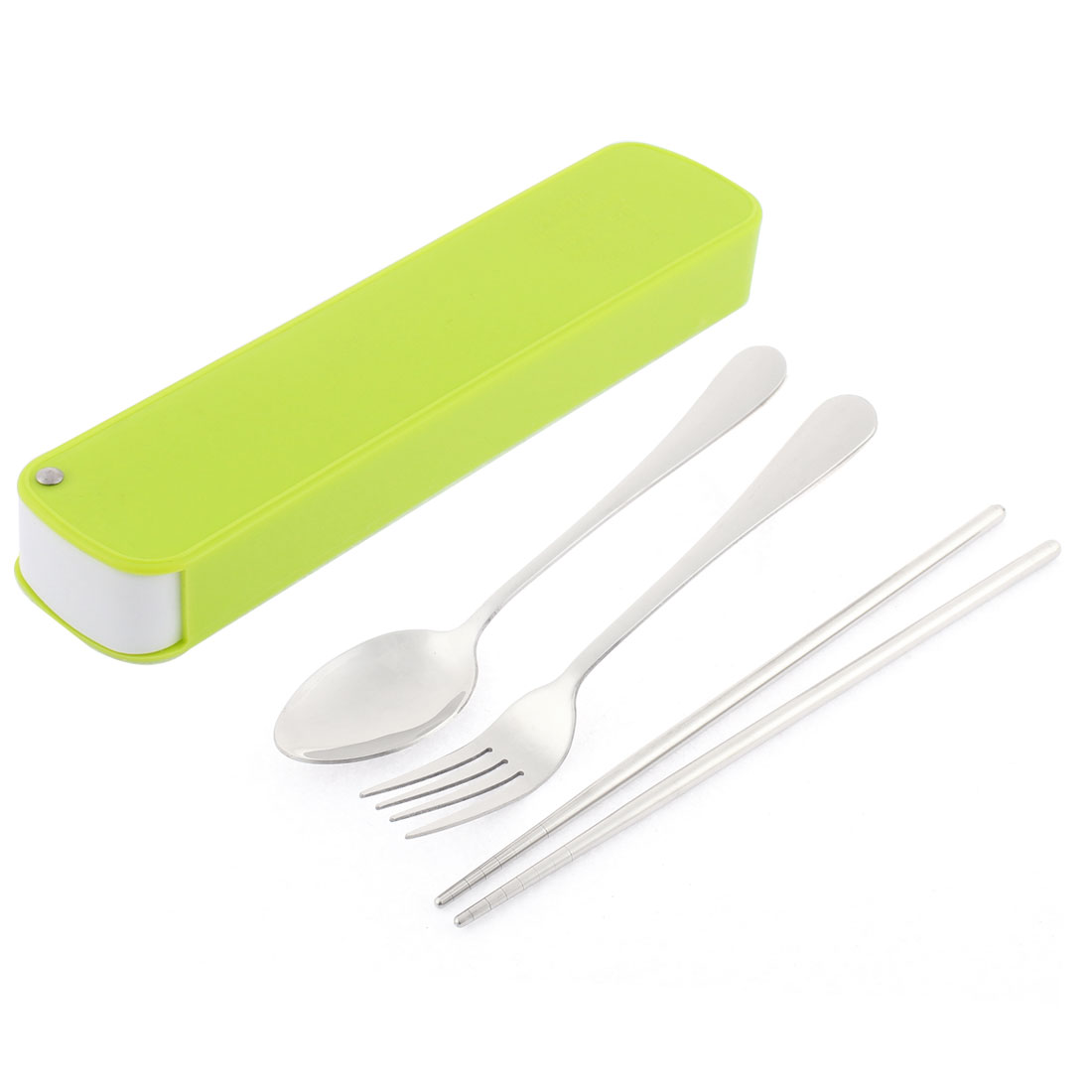 Home Kitchen Spoon Chopsticks Fork Tableware Flatware Cutlery Set w Case Yellow Green