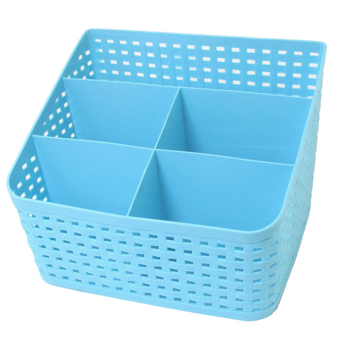 Tie Bra Socks Plastic Desktop Storage Drawer Divider Basket Box Blue