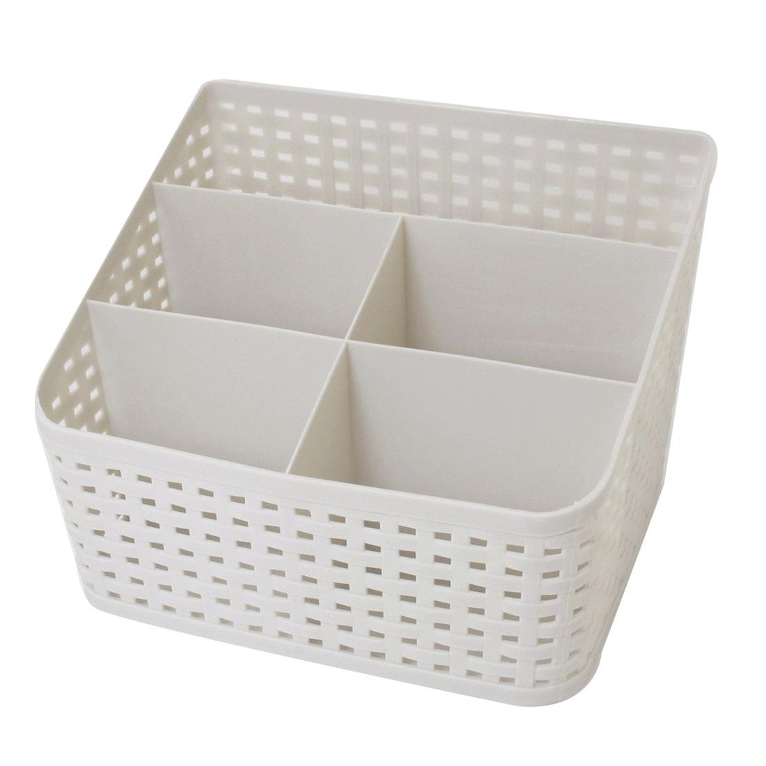 Makeup Remote Control Imitation Rattan Design Storage Drawer Basket Box Gray