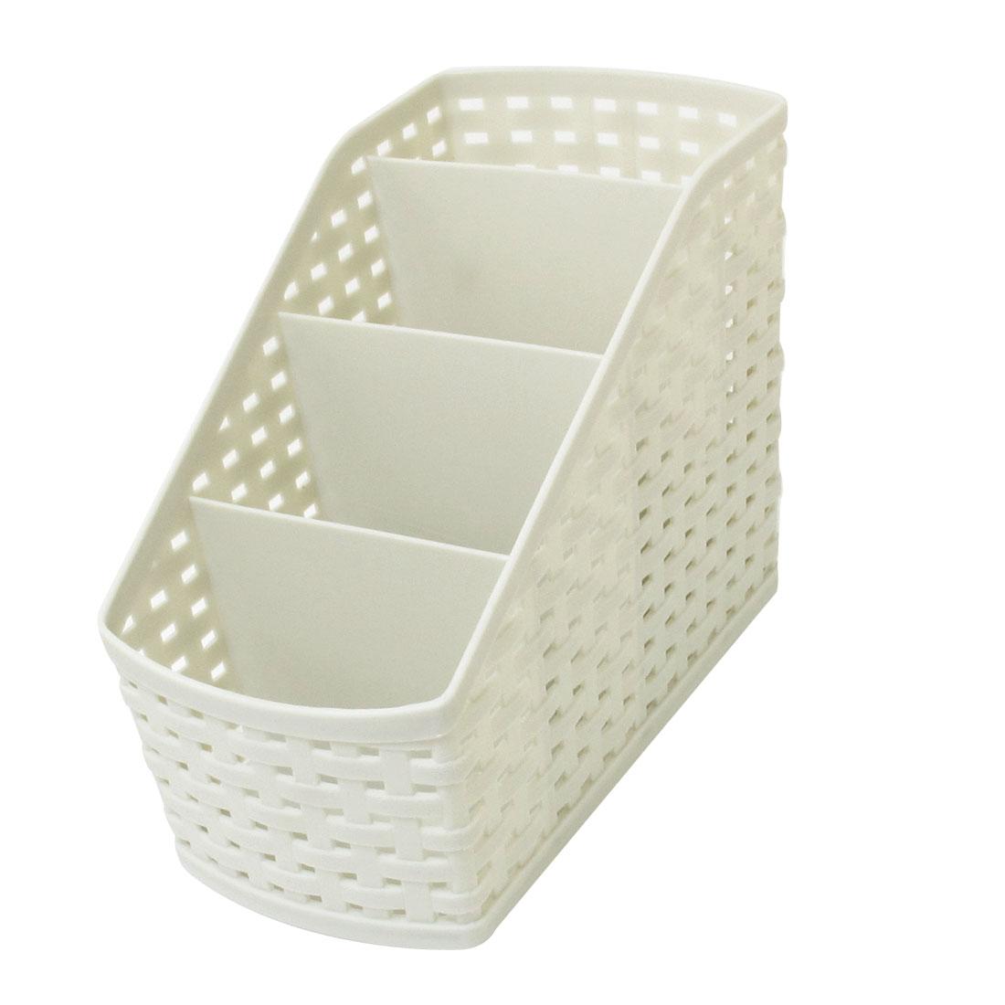 Imitation Rattan Design Desktop Plastic 4 Grids Storage Case Box Gray