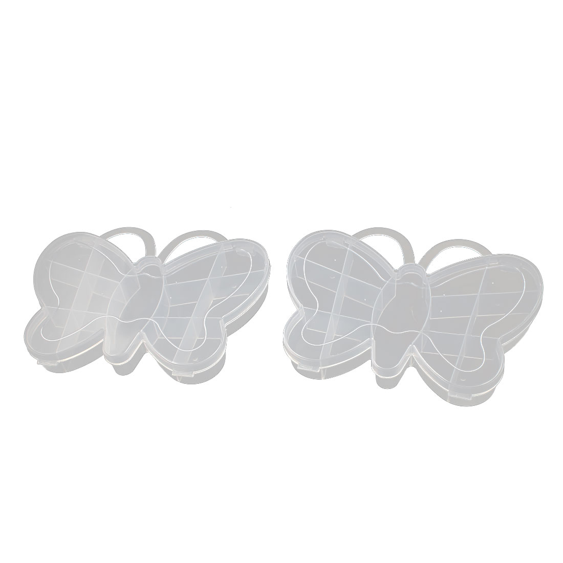 Jewelry Bead Pill Collection Makeup Butterfly Shape Storage Box Case Clear 2pcs