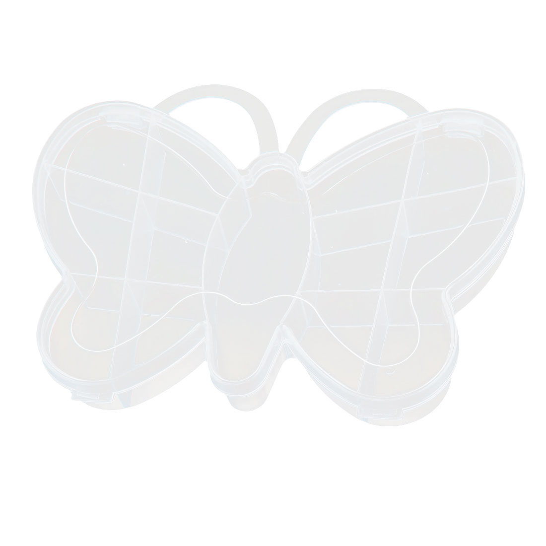 Family Plastic Butterfly Shape Jewelry Bead Holder Storage Box Case Clear