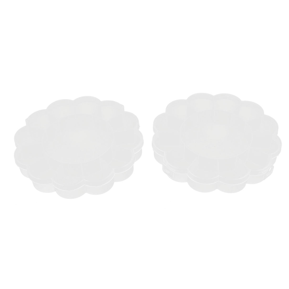 Jewelry Bead Pill Collection Floral Design Storage Box Container Clear 2pcs