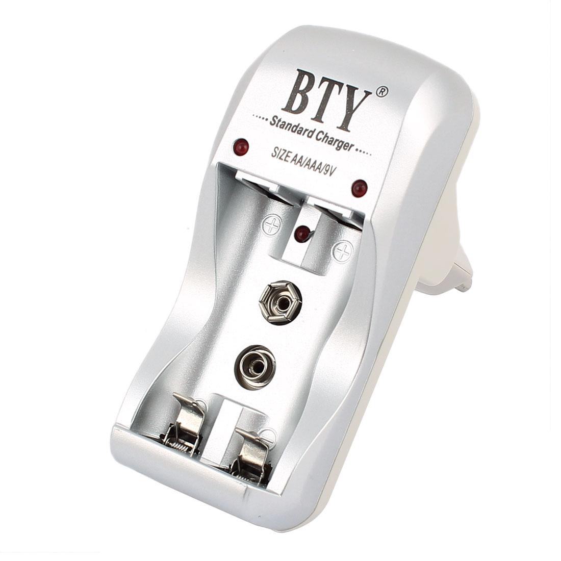 AC 100-240V EU Plug 1.2Vx2 A/AAA/9V/Ni-MH/Ni-Cd Rechargeable Battery Charger
