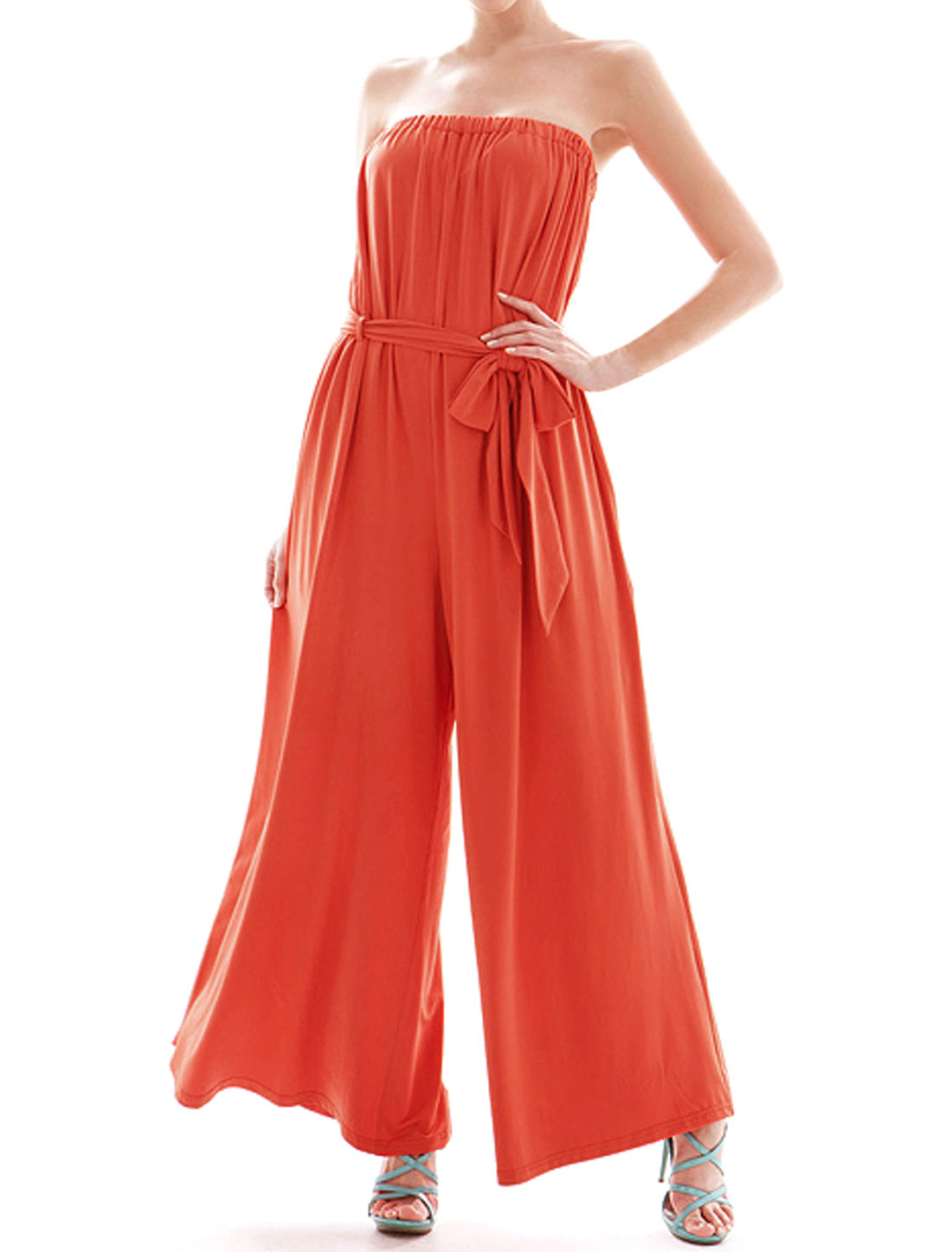 Women Strapless Elastic Upper Belted Wide Leg Jumpsuit Red S