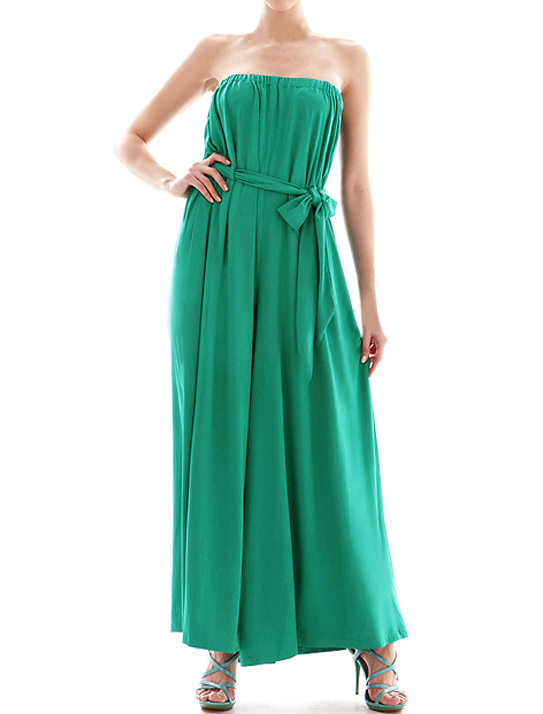 Women Strapless Elastic Upper Belted Wide Leg Jumpsuit Green S
