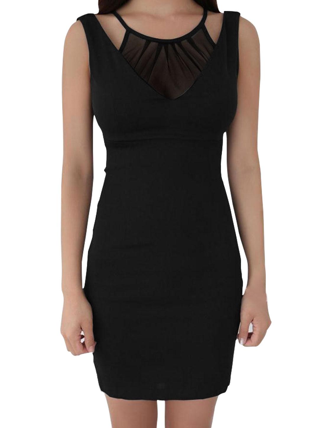 Woman Sleeveless Layered Semi Sheer Upper Bodycon Dress Black M