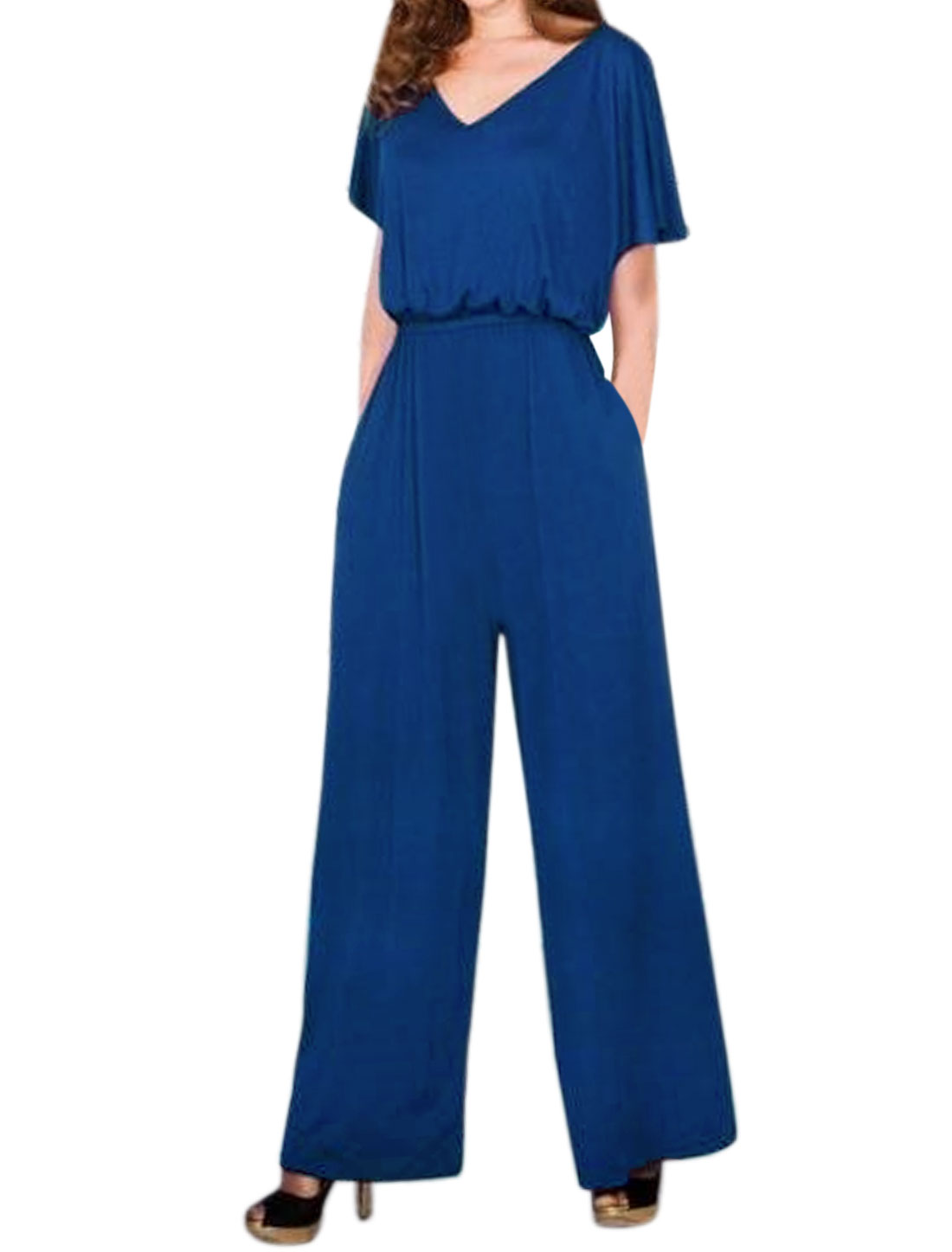 Women Cut Out Back Wide Leg Batwing Jumpsuit Blue M