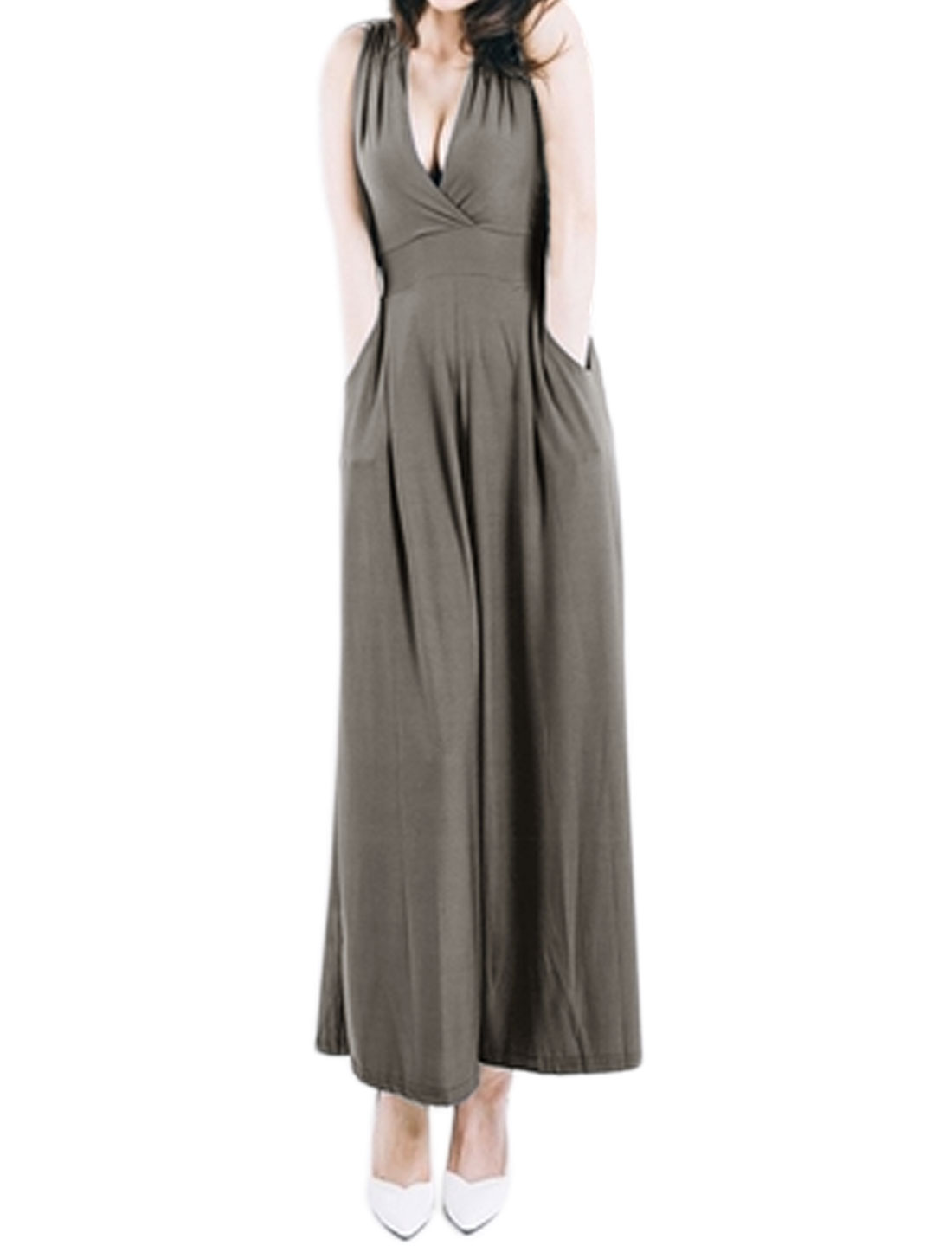 Women Sleeveless Crossover V Neck Wide Leg Jumpsuit Gray M