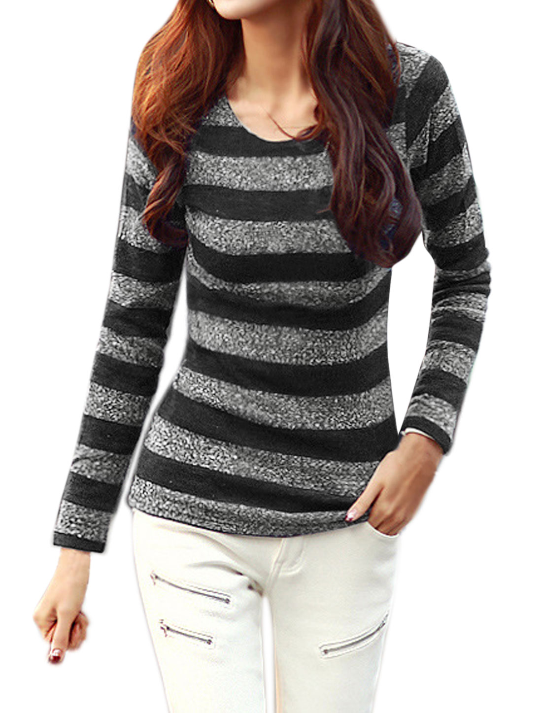 Women Round Neck Stripes Slim Fit Knit Shirt Black XS