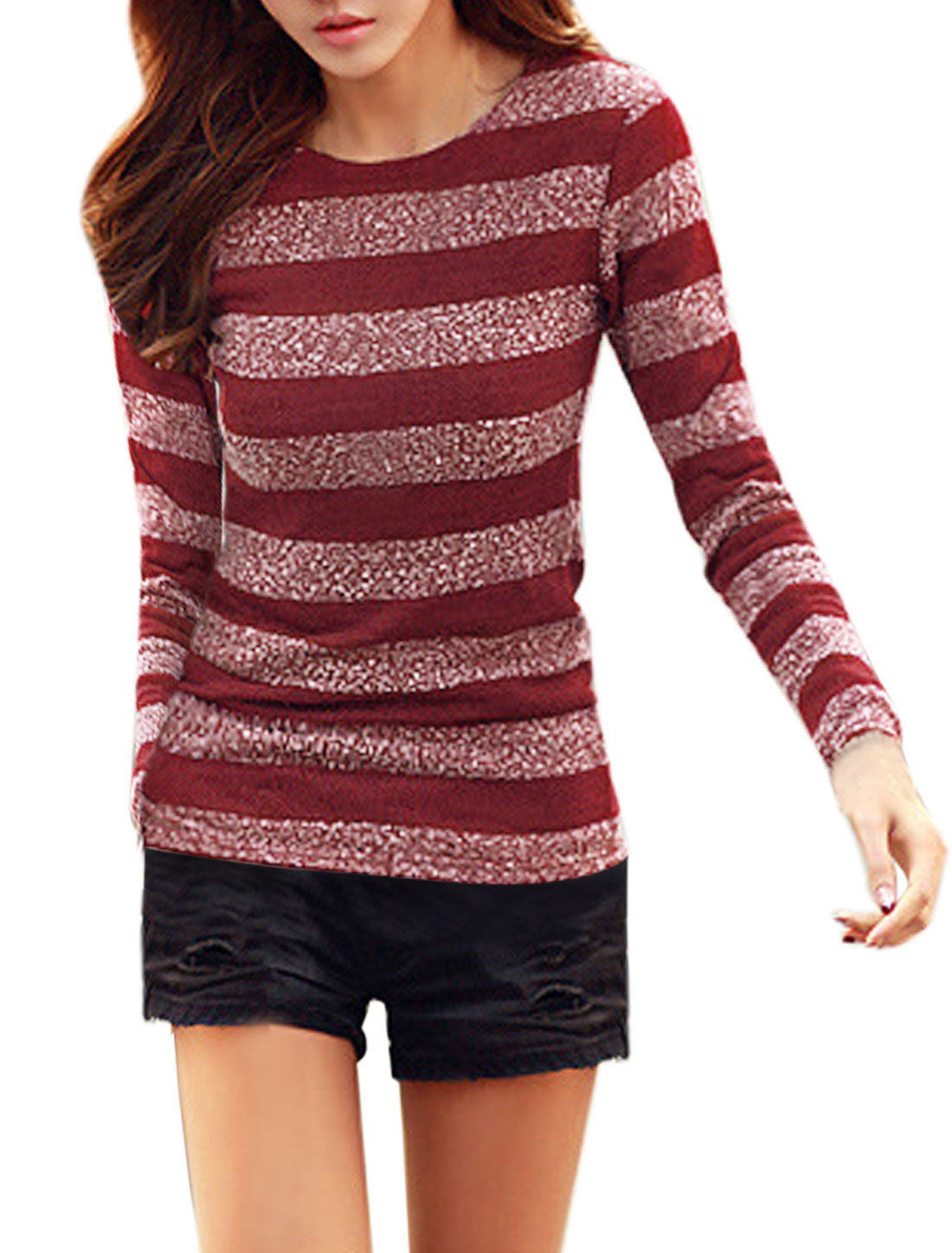 Women Round Neck Stripes Slim Fit Knit Shirt Red XS