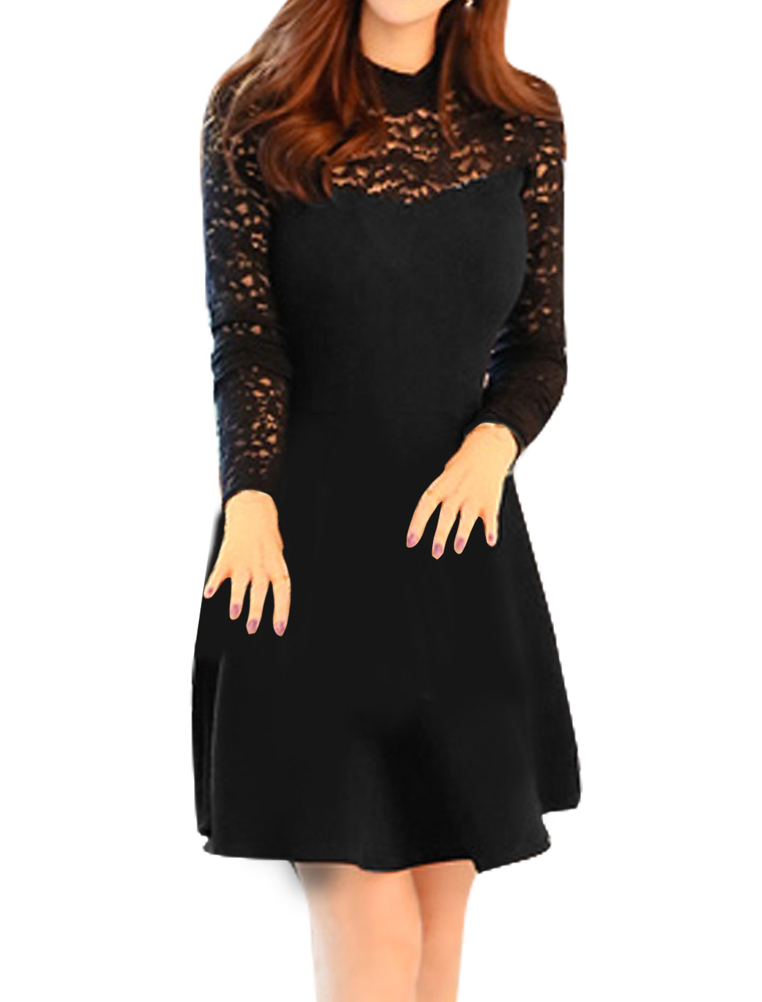Women Mock Neck See Through Floral Lace Flare Dress Black S