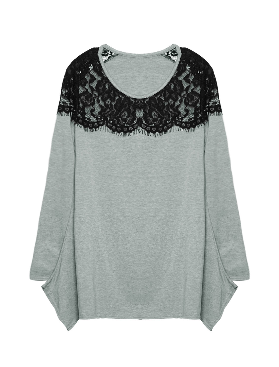 Woman Long Sleeves Asymmetric Hem Loose Lace Tunic Top Gray S