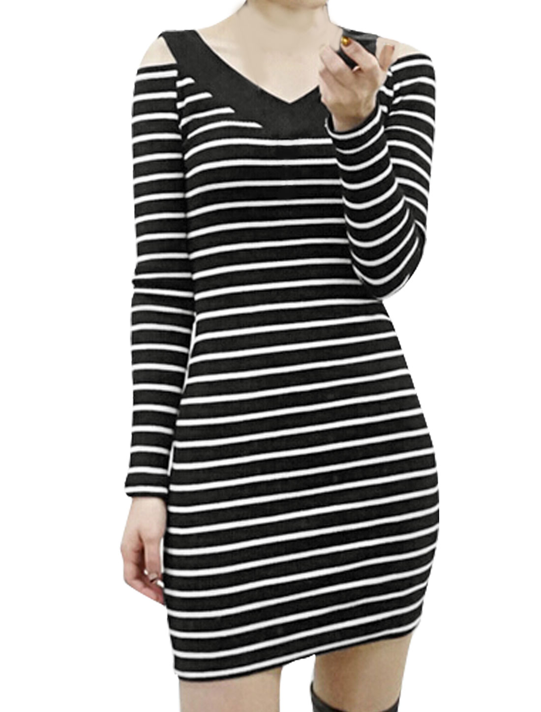 Woman V Neck Cut Out Shoulder Stripes Bodycon Dress Black XS