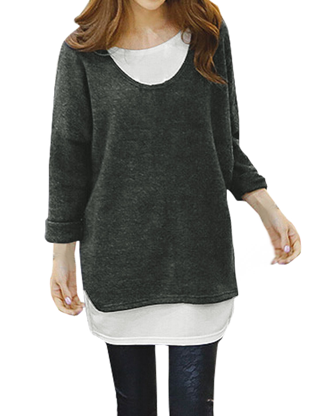 Woman Dolman Layered Contrast Color Loose Tunic Top Black M