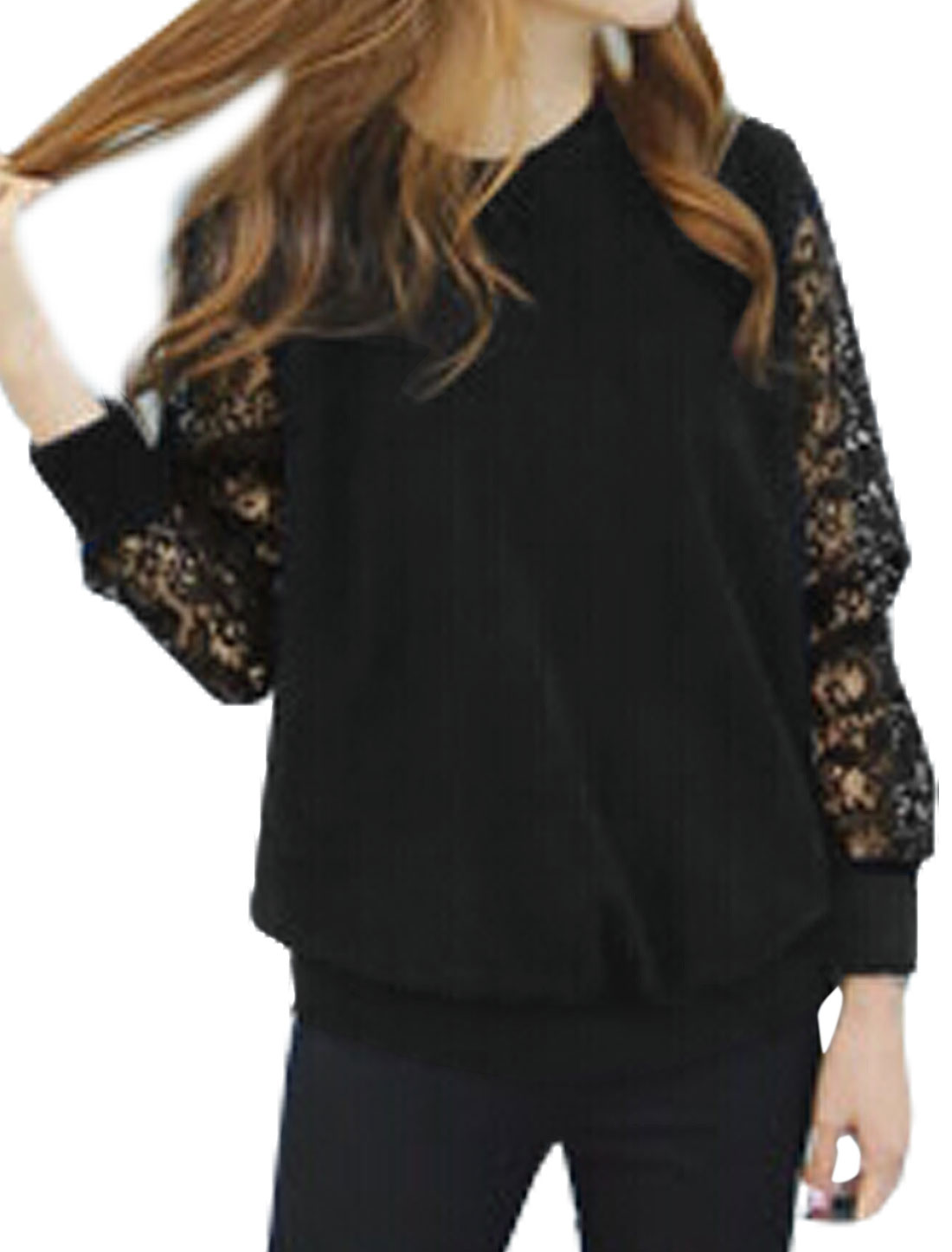 Woman Crew Neck See Through Long Sleeves Lace Top Black XS