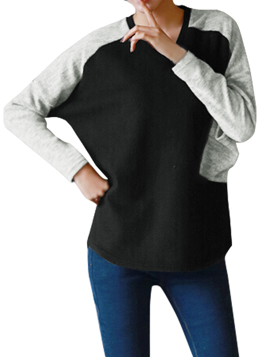 Ladies Contrast Color Batwing Tee Shirt w Pocket Black XS