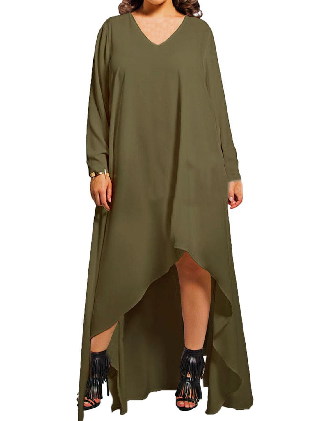 Women Long Sleeves Loose Asymmetric Hem Dress Green M