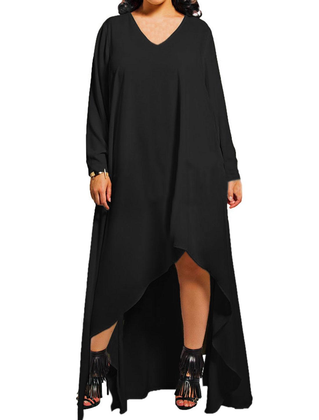 Women Long Sleeves Loose Asymmetric Hem Dress Black M