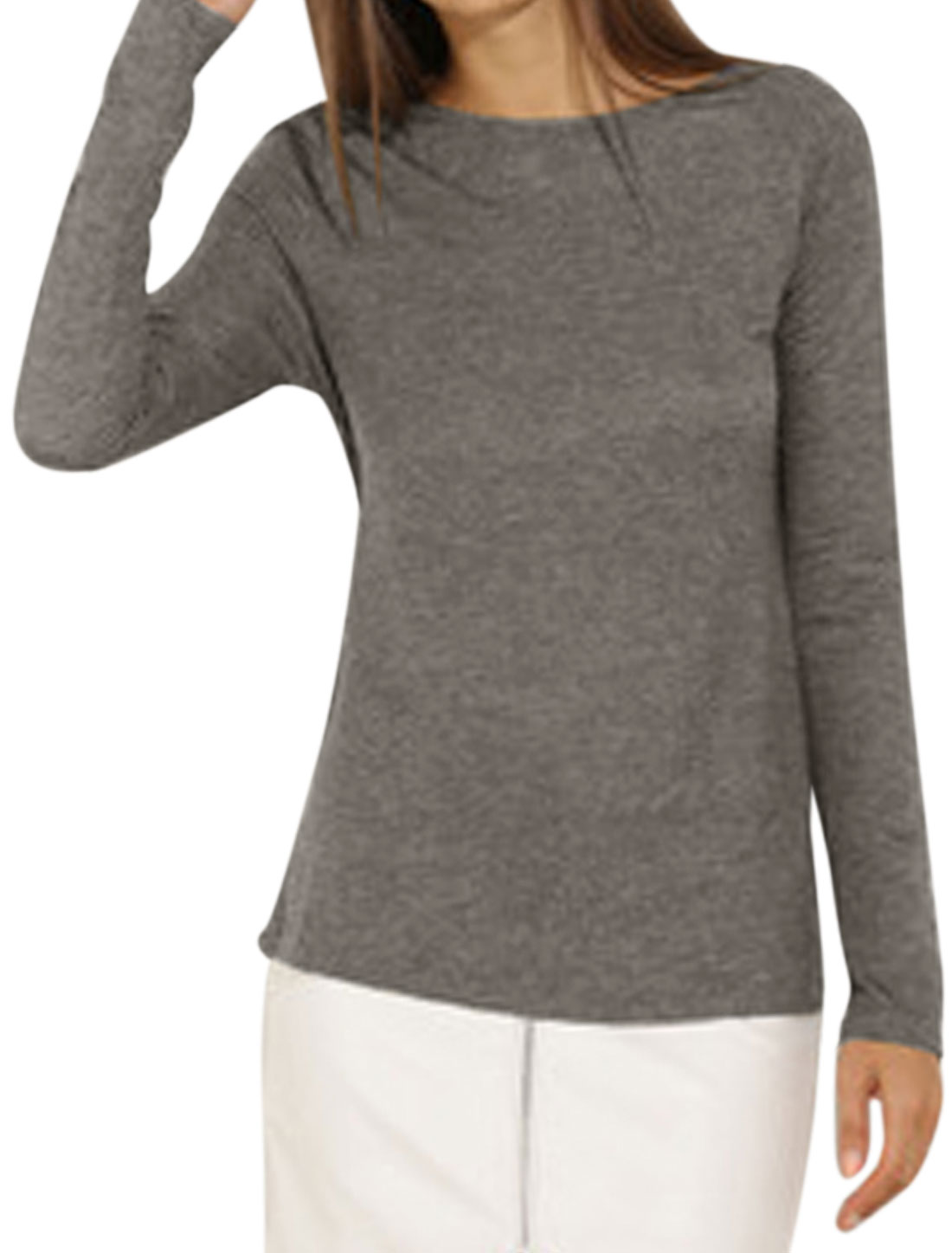 Ladies Crew Neck Long Sleeves Crossover Back Top Gray S