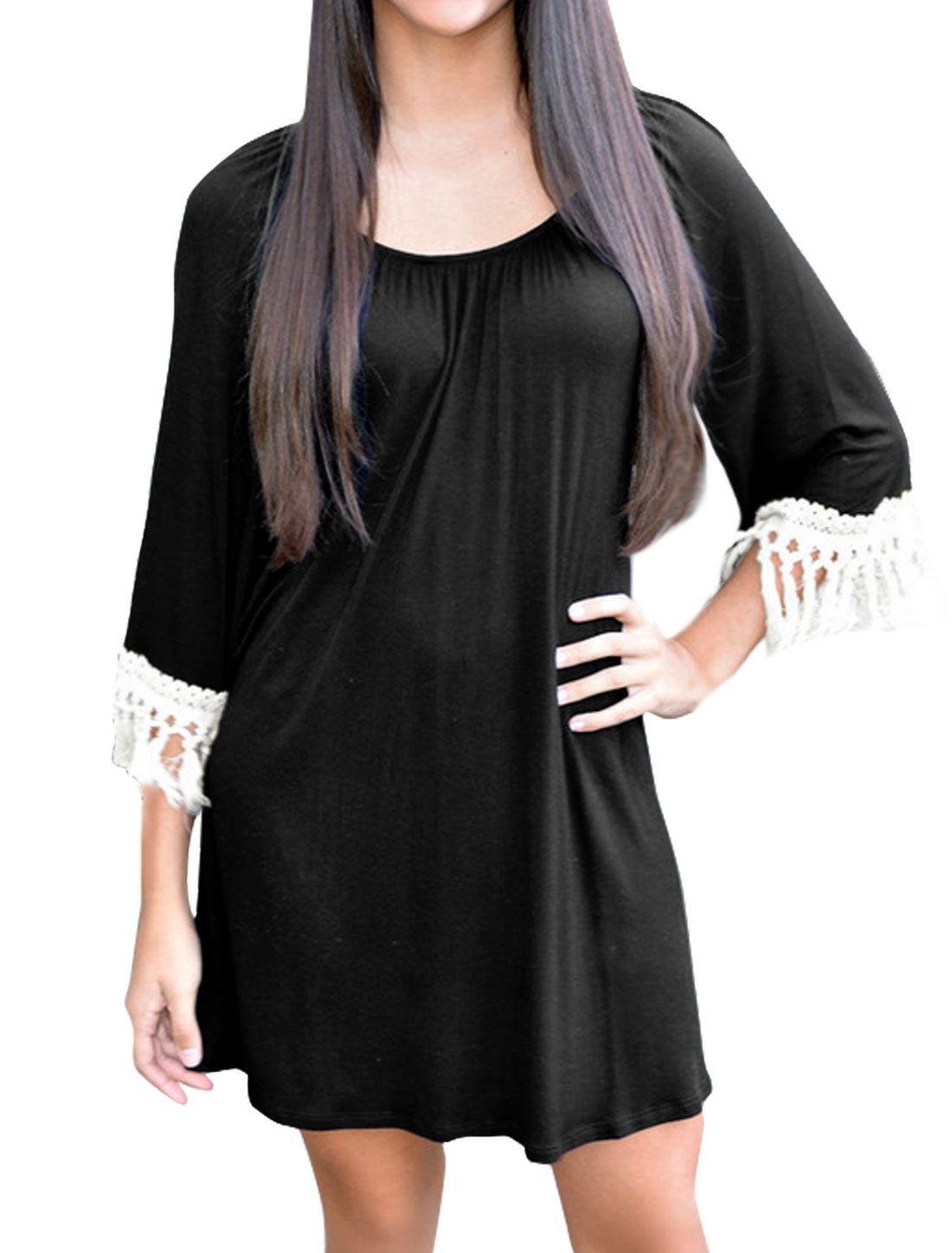 Women 3/4 Sleeves Tassels Loose Tunic Dresss Black S