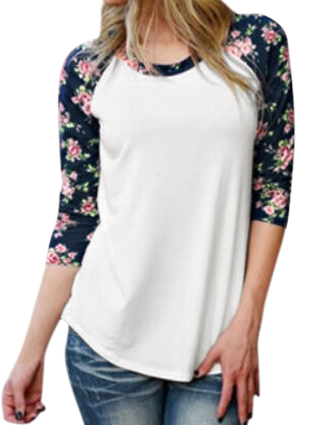 Women Bracelet Sleeves Color Block Floral Tee Shirt White S