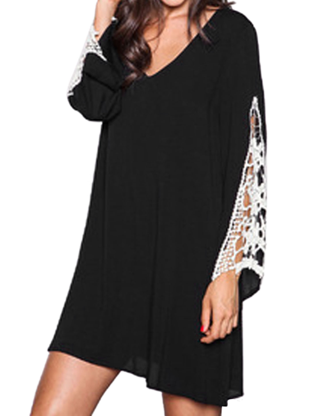 Ladies Crochet Trumpet Sleeves Loose Tunic Dress Black XS